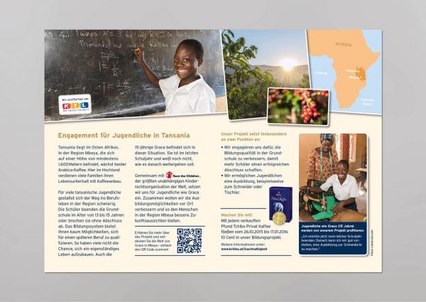 Flyer Tchibo – education project Tansania